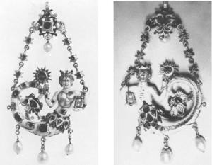Pendant drawing, left, Mermaid Pendant, Florence Museo degli Argent, right