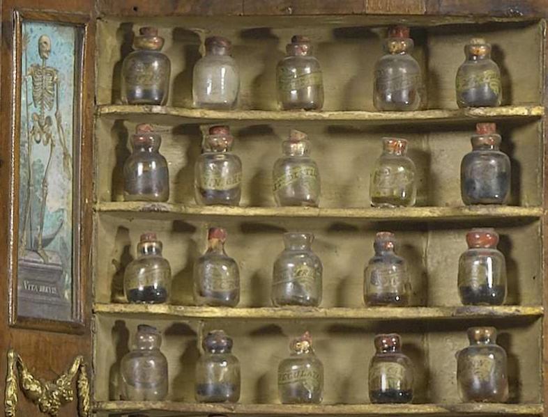 Glass Bottles Skeleton Painting