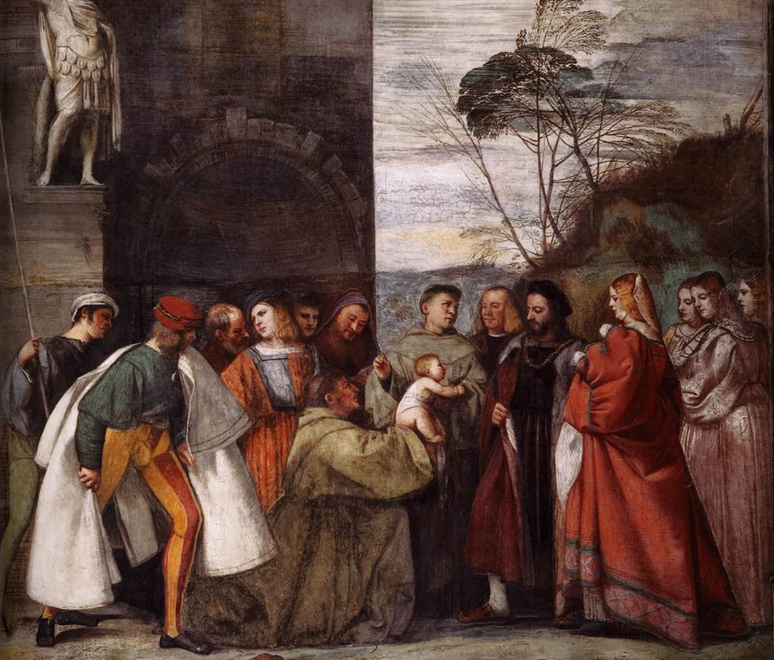 Miracle of the Newborn Child, Titian, 1511 Scuola del Santo