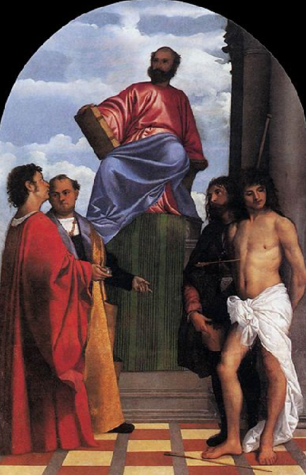 Saint-Mark-Enthroned-with-Saints-Cosmas-Damian-Roch-and-Sebastian-1511-1512-Santa-Maria-della-Salute-Venice